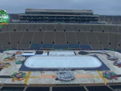 Timelapse shows Winter Classic rink being setup in Notre Dame football stadium