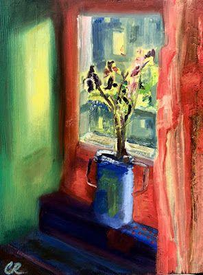 """Contemporary Still Life Painting, Floral, Interior View Painting """"Window Light"""" by California Artist Cecelia Catherine Rappaport"""