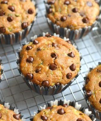 Healthier Chocolate Chip Zucchini Muffins {GF, Low Cal}