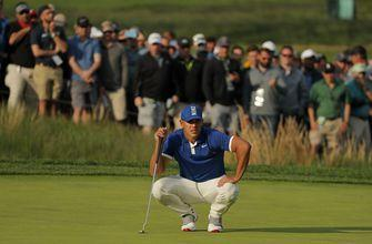 The Latest: Short history of Koepka, Spieth in majors