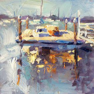 HARBOR, BOATS, DOCK, ORIGINAL OIL PAINTING by TOM BROWN