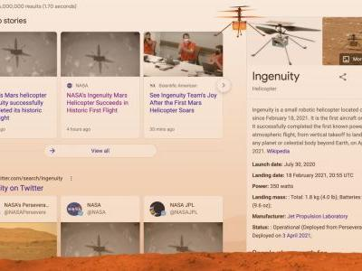 Google Search adds immersive easter egg to celebrate Ingenuity flight on Mars