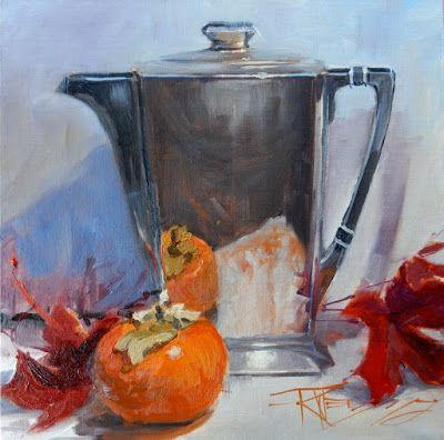 """Fall Leaves with Persimmon and Silver"" still life painting by Robin Weiss"