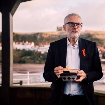 Jeremy Corbyn shows up on the campaign trail in a custom 'For the Many' fit