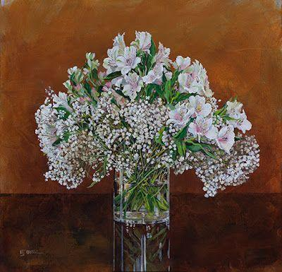 """Still Life Floral Painting, Alstroemeria, Flower Painting, Fine Art """"Baby's Breath"""" by Colorado Artist Nancee Jean Busse, Painter of the American West"""