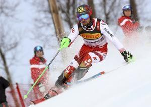The ski king is back: Hirscher takes big lead in slalom