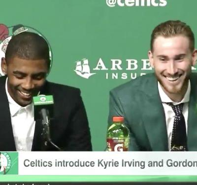 New Celtics Kyrie Irving and Gordon Hayward joked about how LeBron James 'squashed' their first attempt at teaming up