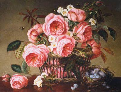 Peach English roses in basket with nest blue broken egg brrs oil painting 16x20 in