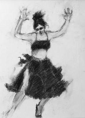 Salsa Gal in Black and White - original charcoal figurative Latin dancer