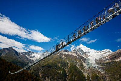 The world's longest suspension bridge has opened in the Swiss Alps - and it looks terrifying