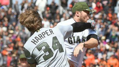 Bryce Harper, Hunter Strickland suspended for setting off Nationals-Giants brawl