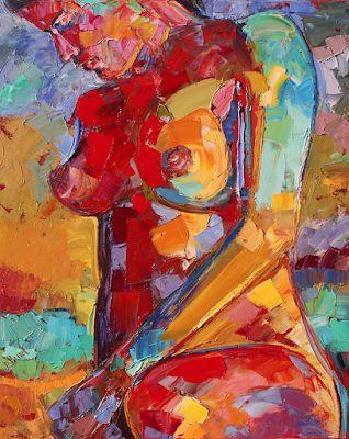 "Abstract Female Nude Painting,Palette Knife Figure ""Lady of Color"" by Texas Artist Debra Hurd"