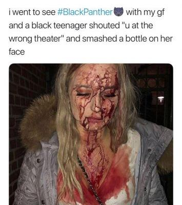 Trolls are claiming white people were assaulted at Black Panther screenings