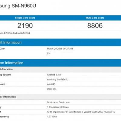 Samsung Galaxy Note 9 Sighted With 6GB RAM, Android 8.1 Oreo