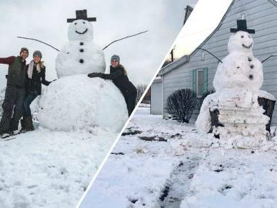 'Frosty certainly had the last laugh': Vandal tries to run over giant snowman, hits tree trunk instead