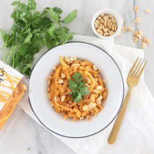 HEALTHY DINNER RECIPE: BUTTERNUT VEGGICCINE WITH SWEET THAI PEANUT SAUCE