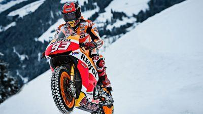 Video: Marc Marquez rides a Honda MotoGP bike up an Alpine downhill ski course