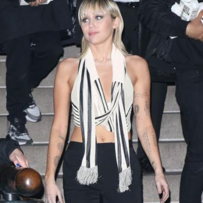 Red Hot! Miley Cyrus Flaunts Toned Abs in Crop Top With Crimson Boots During NYFW