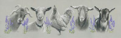 Day 7 of 30 paintings - Hank, Honey, Louie, Butters and Poppy, in the Lavender