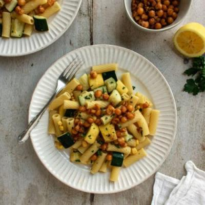 Tahini Pasta with Summer Vegetables