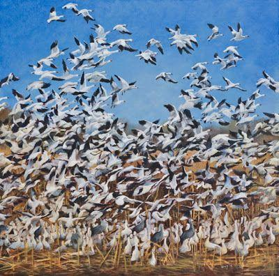 """Birds, Wildlife, Landscape Fine Art Painting """"up"""" by Colorado Artist Nancee Jean Busse, Painter of the American West"""