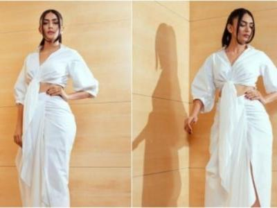 Mrunal Thakur in Rs 14k knotted shirt and draped skirt set makes a classy statement
