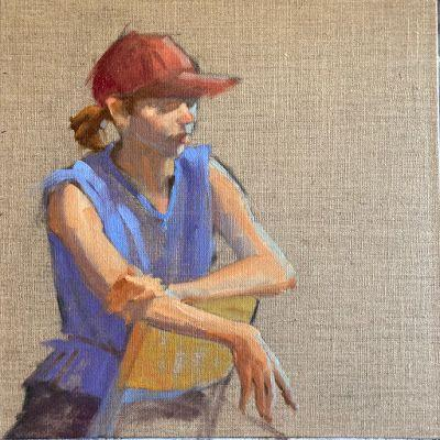 """""""Red Ball cap"""" 12in x 12in oil on linen"""