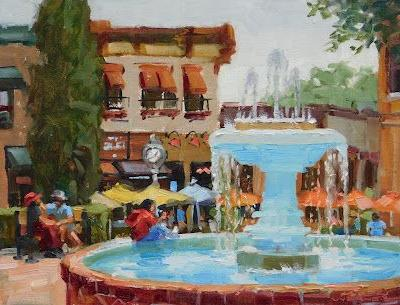 Gray Day Fountain- a plein air painting from the Orange Circle