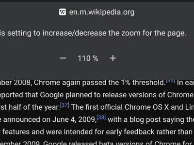 Chrome mobile browser testing out Page Zoom