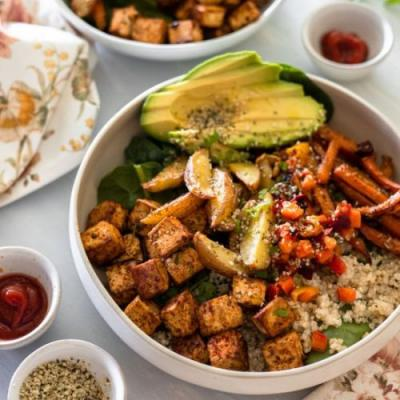 Roasted Tofu Veggies Nourish Bowls