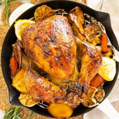 Lemon Garlic Butter Roast Chicken