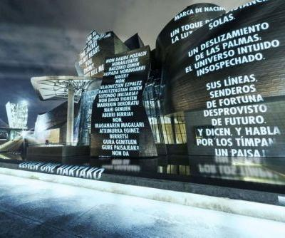Jenny Holzer Projects Her 'Truisms' Onto Facade of Guggenheim Bilbao